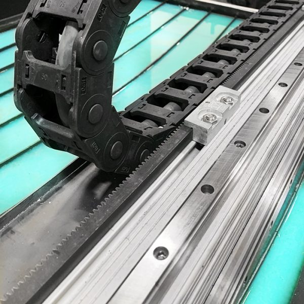 Track, gantry and waterbed on one of our automated plasma tables